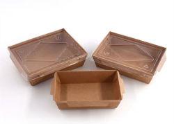 Beschikbaar neem het Vakje van de Lunch van het Document van Kraftpapier van de Container van het Voedsel met de Deksels van het Huisdier