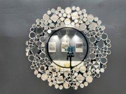 ديكور إلكترونى مستدير من قبل OEM ساعة حائط ماسية مسحوقة ذات مرايا