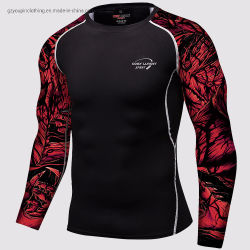 De in het groot Raglan Mens Lange Slijtage van de Spier van de Compressie van de Overhemden van de Gymnastiek