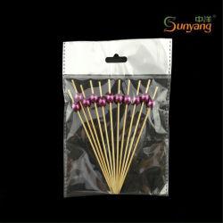 Il BBQ a gettare poco costoso perfezionamento gli spiedi/bastoni di bambù con il branello viola decorativo