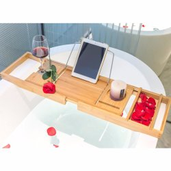 صينية منظّم قابلة للضبط من الخيزران للحمام مع طبق صابون مجاني مناسب للمنتجع الصحي الفاخر أو القراءة