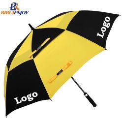 Logo personnalisé imprimé Windproof Parapluie de golf avec double ventilé pour cadeau de la canopée/Promotion/Publicité/sports