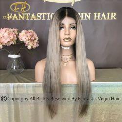 100% Vergine Cinese/capelli umani Remy completo/Caccia frontale Wig con sorprendente Colore