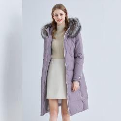 가벼운 무게의 코트 다운 채움 재킷 여성용 롱 다운 여성용 후드가 있는 재킷