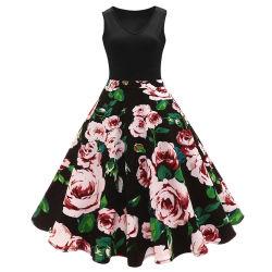 Nouveau style personnalisé Fashion femmes fleurs floral élégant robe MIDI