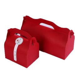 Gâteau mousseline de soie rouge prendre-out Box Cookie emballages papier boîte de biscuits