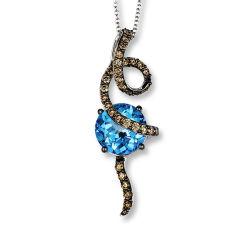 Голубой Топаз кулоны украшения 925 Silver кулоны черный родий покрытие