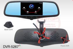 5 polegadas LCD do espelho com DVR HD duplo, Bússola, antirreflexo de vidro azul, Tela Sensível ao Toque
