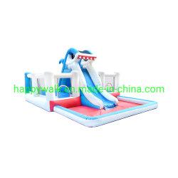 鮫の子供のためのプールが付いている膨脹可能な警備員のスライド