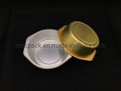 뚜껑 호일 팬 식사가 포함된 일회용 음식 쟁반 테이드를 치십시오 알루미늄 호일 컨테이너용 전자레인지 오븐 매끈한 벽 포장