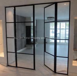 Utilização interior francês de aço dobrável Bifold pátio de vidro portas da sala