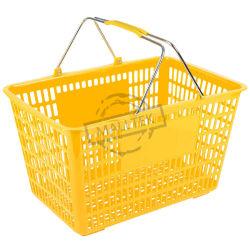 سلة تسوق بلاستيكية من كل أنواع البقالة مع مقبض معدني