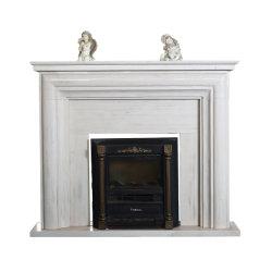 مدفأة حجارة رخامية بيضاء على الطراز الغربى الساخن للمكان الداخلي