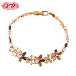 18K女性のための金によってめっきされる方法魅力の革ブレスレットの腕輪の鎖のゴム製人のブレスレットの宝石類