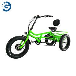 """뚱뚱한 타이어 E-Trike를 가진 24 """" & 20의 """" 정면 드라이브 모터 3 바퀴 전기 자전거"""