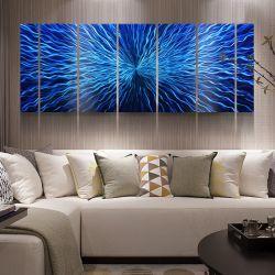 Blauw 3D Abstract Met de hand gemaakt Decor 100% van de Kunsten van de Muur van de Olieverfschilderijen van het Metaal Modern Binnenlands