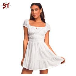 Blanco nuevo Cap Sleeve Mini Vestido, camisa con Rufle señoras visten, nueva moda de vestir
