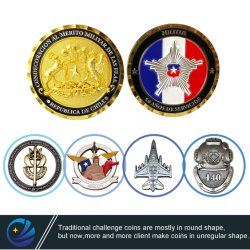Factory Customized Metal Crafts 3D Logo Soft Emaille Challenge Coin Chili Duitsland Military Police Award souvenirmunten voor Promotie Gift (CO01)