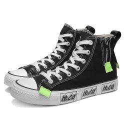 Fashion toile noire Sneakers Chaussures pour hommes fermeture à glissière côté Style Classique Chaussures pour hommes