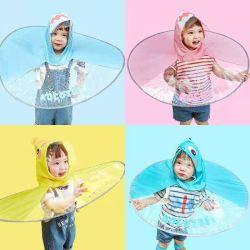 2020 Tops Garçon et fille cape imperméable résistant aux intempéries bébé canard mignon dessin animé de soucoupe volante enfant Kid imperméable parapluie Hat