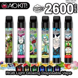 سعر الجملة 12 نكهة 2600puffs Aokit Lux لكيس السجائر الإلكترونية التي لا يمكن التخلص منها مع مصباح RGB