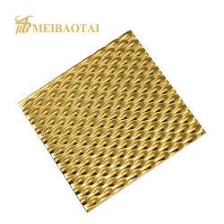Kuiltje Gestempelde Rang 304 201 4X8 Voet 0.65mm van het Metaal Plaat van het Roestvrij staal van de Deklaag van de anti-Vingerafdruk van het Comité van de Muur van het Blad van het Roestvrij staal de Decoratieve Gouden Zilveren