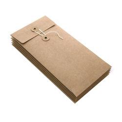 Custom enveloppe de papier kraft en carton rigide avec de la ficelle