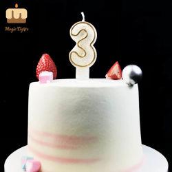 Or nombre d'anniversaire Glitter 3 Commerce de gros de bougie
