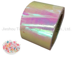 Embalagem de celofane transparentes Pet Rainbow Film Película iridescente para embalagem de produtos de confeitaria