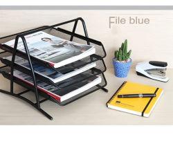 Bureau de l'organiseur de bureau sur le fil grillage de métal papier bac 3 de niveau fichier Document noir (VFT1-4)