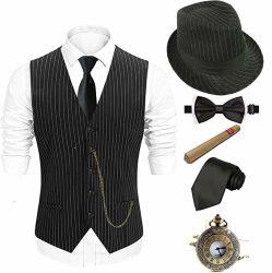 Zwanzigerjahre Mensfedora-Hut, Gatsby Gangster-Weste, Weinlese-Pocket Uhr, Plastikzigarre, vor gebundener Querbinder, Gleichheit
