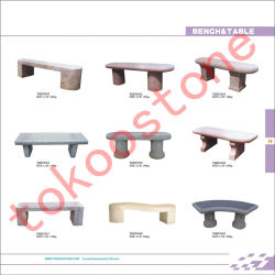 Meubles de jardin de sculpture sur pierre de granit Bench & Table