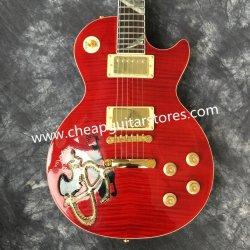 カスタム工場赤い炎の上の彫版のコバルトのアワビによってはめ込まれるFingerboardの標準エレキギター