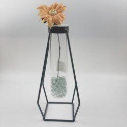 Высокая Боросиликатного судов стороны стеклянных ваза стеклянные украшения с металлическим основанием