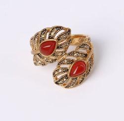 Мода Shae листьев кольцо с красным Cat Eye камня