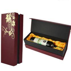 Commerce de gros format personnalisé créatif de luxe à bas prix Vintage Noël seule bouteille noir en cuir/boîte cadeau en bois du vin
