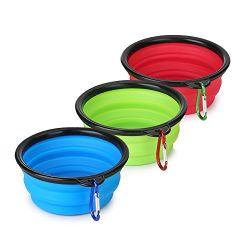 Eco-Friendly Silicone Folding Collapsible Travel Dog Bowl avec crochet Portable Pet Dog Feeder Dog Dishes
