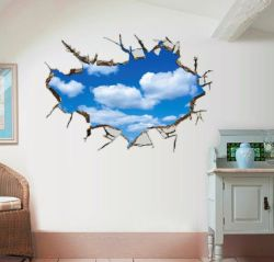 3D Blue Sky nuage blanc cassé Sticker Mural décoration maison