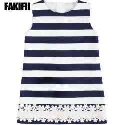 Desgaste do bebé personalizada de fábrica crianças menina da mola de vestuário elegante vestido listrado enfeite de flores por grosso de vestuário de moda