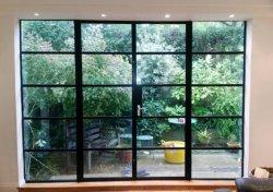 Puerta de entrada Bi-Fold francesa de acero de puerta de la seguridad de encargo con el vidrio
