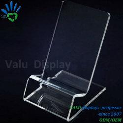 Claro de acrílico transparente de la pantalla Stand Soporte para teléfono móvil de exposiciones de venta