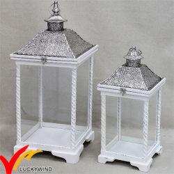 S/2 Blanc Millésime Antique lanterne bougie en bois en détresse avec du métal en haut pour la décoration de mariage