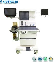 S6100X Anethesia Maschine Holzkoffer Paket für Dental mit Elektro Durchflussmesser und Trolley
