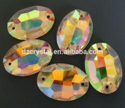 Coser sobre Flat-Back suelta la piedra de vidrio con orificio para vestidos