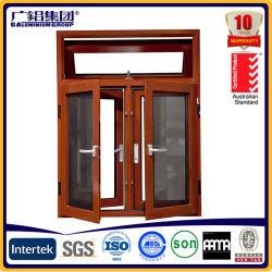 Couleur en bois double Windows glacé en aluminium pour le guichet en aluminium d'inclinaison et de spire