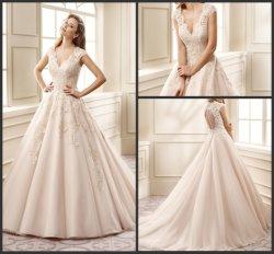 Schutzkappe Sleeves Brautballkleid-rosafarbene Farben-Akzent-Hochzeits-Kleider 2017 Z7008