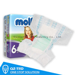 OEM transpirable Molfix desechables Pañales pañal Pañales bebé Pampers absorbencia Super Pad