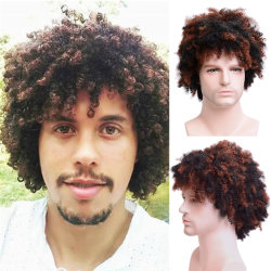 Toulee kinky Synthetic Short Wig for Men's Daily Wig 혼합 남성 컬리 천연 코스플레이 헤어 내열성 통기성 남성 가발