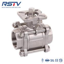 Ss/acero inoxidable/montaje de acero al carbono/ISO5211 Pad atornillado/Subprocesos/BSPT/BSP/NPT//Handle eléctrico neumática Industrial Wog 3PC/ Tres pedazo Sandwich/válvula de bola