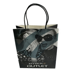 Bolsa Bolsa de papel Kraft de vasos reciclables Shopping Bag Bolso verde